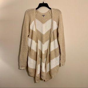 Open Knit Chevron Cardigan Sweater
